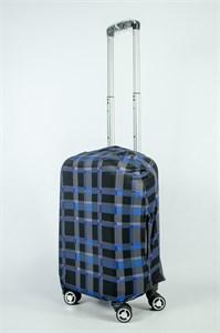 """Чехол для маленького чемодана """"черно-синия клетка"""" 13883"""