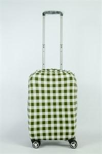 """Чехол для маленького чемодана """"бело-зеленая клетка"""" 13846"""