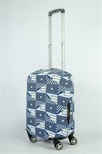 """Чехол для маленького чемодана """"разные фигуры на голубом фоне"""" 13852"""