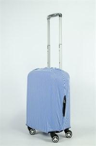 """Чехол для маленького чемодана """"тонкие сине-белые полосы"""" 13849"""