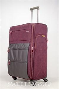 Чемодан текстильный большой Impreza бордовый съемные колеса waterproof (2)