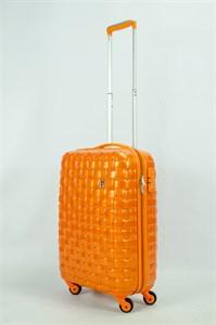 Чемодан маленький ABS Корона (Плетенка) оранжевый