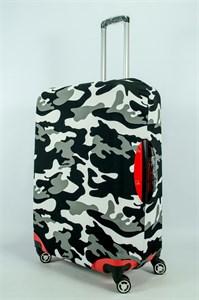 """Чехол для большого чемодана """"черно-белый камуфляж"""" 13976"""