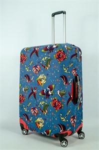 """Чехол для большого чемодана """"якоря, птички и цветы на темном фоне"""" 13974"""