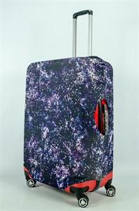 """Чехол для большого чемодана """"сирень на черном фоне"""" 13978"""