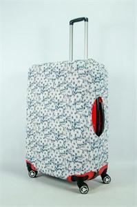 """Чехол для большого чемодана """"белые цветочки на бирюзовом фоне"""" 13971"""