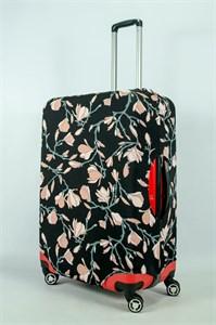 """Чехол для большого чемодана """"розовые цветы на черном фоне"""" 13969"""