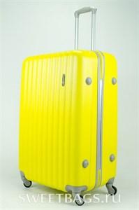 Чемодан большой ABS TT (верт  полоски) желтый  (уценен)