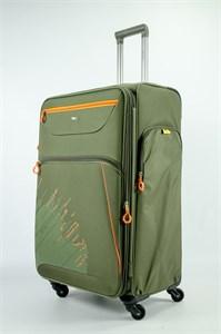 Чемодан текстильный большой Impreza (с аппликацией) тёмно-зеленый съемные колеса (2)