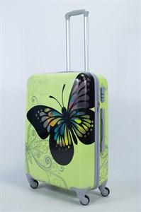 Чемодан средний ABS Рисунок бабочка ( салатовый фон)