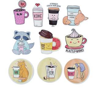 Наклейки стикеры «Я люблю кофе», 7 × 7 см  3567425
