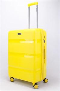 Чемодан средний PP (3 гориз. полосы) с расширением желтый