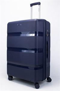 Чемодан большой PP (3 гориз. полосы) с расширением темно-синий