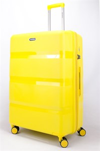 Чемодан большой PP (3 гориз. полосы) с расширением желтый