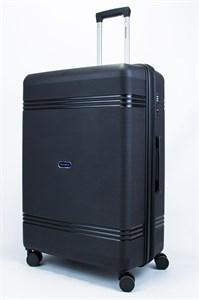 Чемодан большой PP (мелкие полосы) с расширением черный