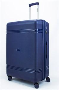 Чемодан большой PP (мелкие полосы) с расширением темно-синий