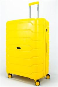 Чемодан большой PP (ромб. полосы) с расширением желтый