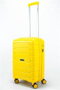 Чемодан маленький PP (ромб. полосы) с расширением жёлтый