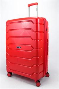 Чемодан большой PP (ромб. полосы) с расширением красный
