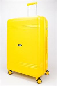 Чемодан большой PP (мелкие полосы) с расширением желтый