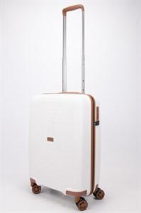 Чемодан маленький PP L`case (квадратные полосы) белый