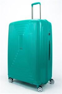 Чемодан большой PP L`case (квадратные полосы) зеленый