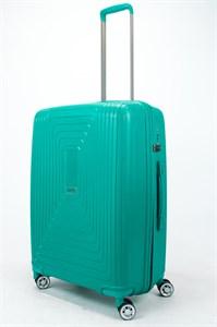 Чемодан средний PP L`case (квадратные полосы) зеленый
