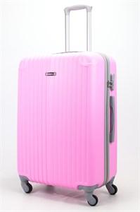 Чемодан большой ABS Ananda (верт. полоски и углы) розовый