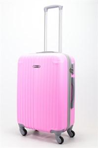 Чемодан средний ABS Ananda (верт. полоски и углы) розовый