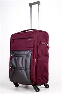 Чемодан текстильный средний Impreza бордовый съемные колеса waterproof