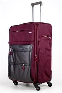 Чемодан текстильный большой Impreza бордовый съемные колеса waterproof